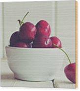 Red Cherries In White Bowl Wood Print