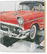 Red Chevrolet 1957 Wood Print
