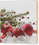 Red Christmas Balls In The Snow  Wood Print