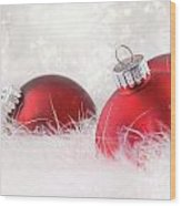 Red Christmas Balls In White Feathers  Wood Print