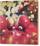 Red Christmas Ornaments With Vintage Look  Wood Print