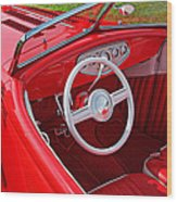 Red Classic Car Wood Print