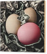Red Classy Easter Egg Wood Print