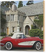 Red Corvette Outside The Playboy Mansion Wood Print