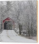 Red Covered Bridge In The Winter Wood Print