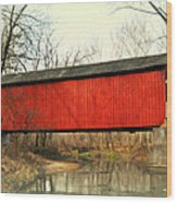 Red Covered Bridge Wood Print