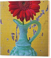Red Daisy In Grape Vase Wood Print