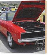 Red Dodge Charger Hotrod . 7d15275 Wood Print