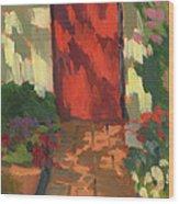 Red Door - Shadow And Light Wood Print