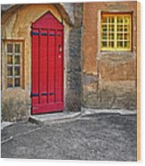 Red Door And Yellow Windows Wood Print