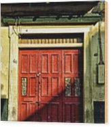 Red Door In Half Shadow Wood Print