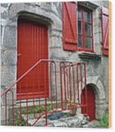 Red Door In Laroche Bernard Wood Print