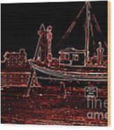 Red Electric Neon Boat On Sc Wharf Wood Print