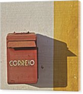 Red Faded Mailbox Of Portugal II Wood Print