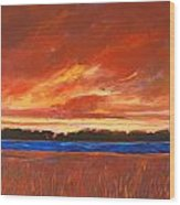 Red Field And Red Sky  Wood Print