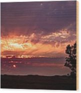 Red Fire Sunset Wood Print