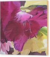 Red Flower In The Abstract Wood Print