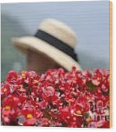 Red Flowers And Straw Hat Wood Print