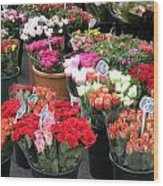 Red Flowers In French Flower Market Wood Print