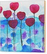 Red Flowers Watercolor Painting Wood Print