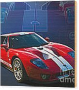 Red Ford Gt40 Wood Print