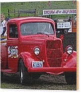 Red Ford Pickup Wood Print