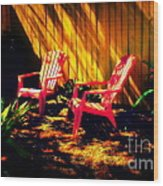 Red Garden Chairs Wood Print
