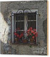 Red Geraniums In Window Wood Print