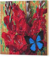 Red Gladiolus And Blue Butterfly Wood Print