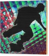 Red Green And Blue Abstract Boxes Skateboarder Wood Print