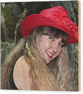 Red Hat And A Blonde Wood Print