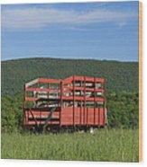 Red Hay Wagon In Green Mountain Field Wood Print