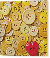 Red Heart And Yellow Buttons Wood Print