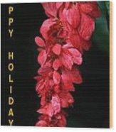 Red Holiday Greeting Card Wood Print