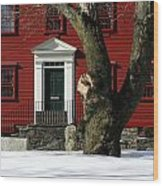 Red House And Snow Wood Print