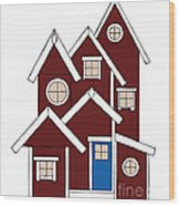 Red Houses Wood Print by Frank Tschakert