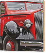 Red Jammer Tour Bus Glacier National Park Wood Print