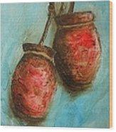 Red Jars Wood Print