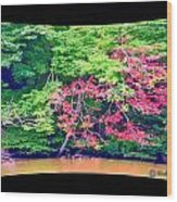 Red Leaves Pano Wood Print