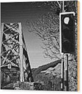 Red Light Traffic Control At The Single Track Connel Bridge On The A828 Coastal Route Road Over Loch Wood Print by Joe Fox