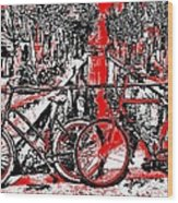 Red Lights Canal In Amsterdam Wood Print