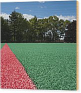 Red Line On An Athletic Field Wood Print