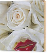 Red Lips And White Roses Wood Print