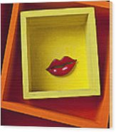 Red Lips In Yellow Box Wood Print