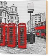 Red London Wood Print