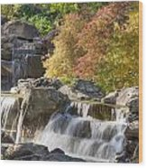 Red Maple Rill Waterfall Wood Print