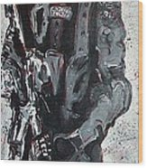Red Marble Full Length Figure Portrait Of Swat Team Leader Alpha Chicago Police Full Uniform War Gun Wood Print by M Zimmerman MendyZ