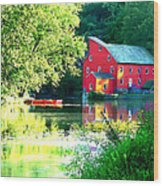 Red Mill On The Lake Wood Print by Artistic Photos
