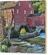 Red Mill On The Water Wood Print