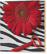 Red Mum And Red Key Wood Print